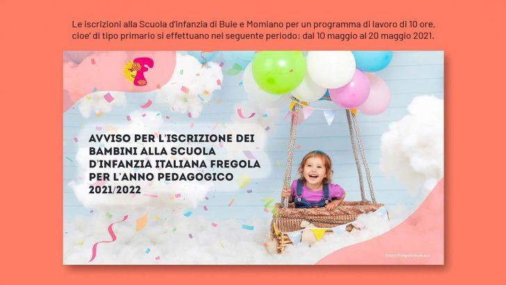 Avviso per l'iscrizione dei bambini alla Scuola d'infanzia italiana Fregola